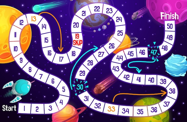 Cartoon kids board game, space adventure with rocket and planets template