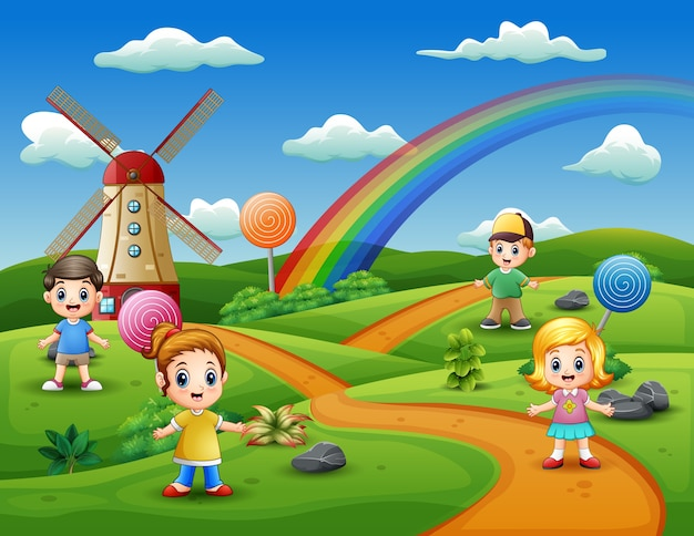 Cartoon kids in a candy land background