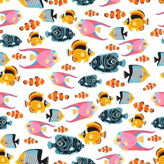漫画の子供たちの漫画の熱帯魚のシームレス パターン