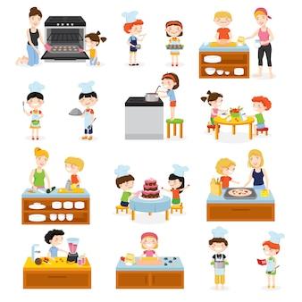 I bambini del fumetto che cucinano insieme con l'illustrazione piana delle attrezzature e delle immagini della mobilia della cucina dei caratteri piani degli adulti e dei bambini