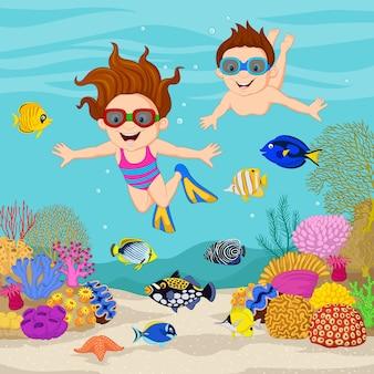 Cartoon kids diving under the tropical ocean