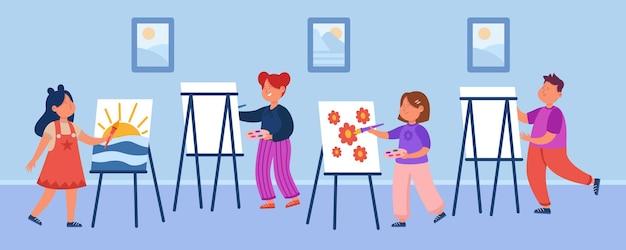 Cartoon kids at drawing lesson flat illustration