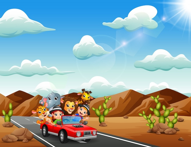Cartoon kids driving a red car with wild animals