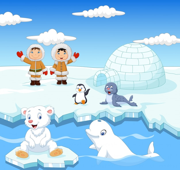 Cartoon kids eskimo with arctic animals