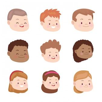 Cartoon kids faces smiling icon set
