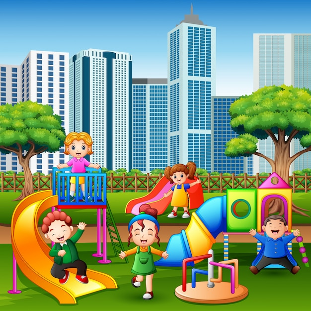 Cartoon kids having fun together on playground