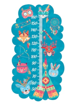 面白いフクロウ、オオカミとキツネ、ワピチ、ウサギ、クマと鹿のインディアンと漫画の子供の身長チャート。定規スケールとネイティブアメリカンの動物、羽、矢、またはテントを使用した成長測定のウォールメーター