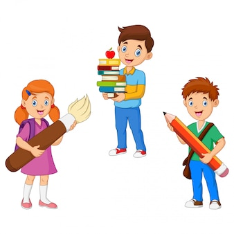 Cartoon kids hold pencil with book and brush
