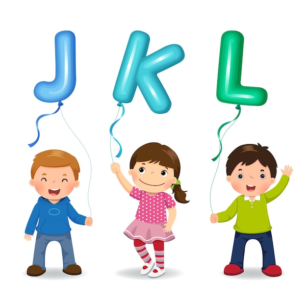 Мультяшные дети держат воздушные шары в форме букв