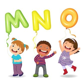 Cartoon kids holding letter shaped balloons