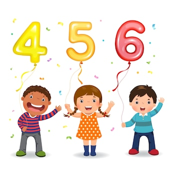 Cartoon kids holding number shaped balloons