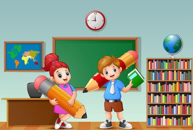 Cartoon kids holding a pencil in a classroom