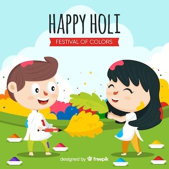 Cartoon kids holi festival background