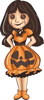 Мультяшные дети в костюмах на хэллоуин. отлично подходит для украшения вечеринки в мультяшном стиле хэллоуина. векторная иллюстрация. е