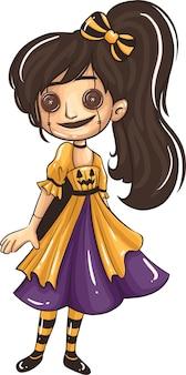 Мультяшные дети в костюмах на хэллоуин. отлично подходит для украшения вечеринки в мультяшном стиле хэллоуина. векторная иллюстрация.