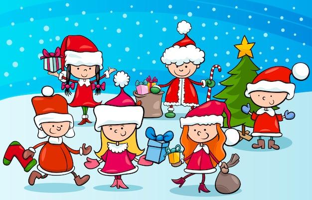 クリスマスの漫画の子供たち