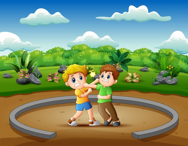 Cartoon of kids playing and fighting illustration