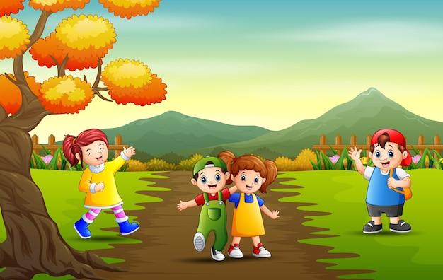 Мультяшные дети играют в парковом пейзаже