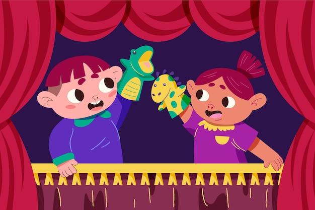 Bambini del fumetto che giocano con le marionette a mano illustrate