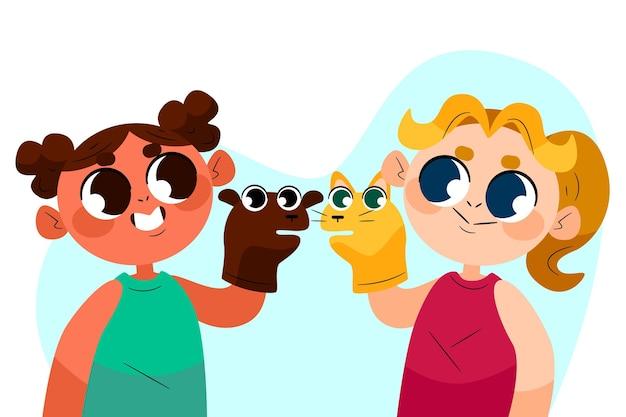 一緒に手の人形で遊ぶ漫画の子供たち