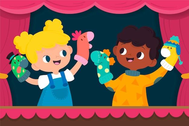 手の人形で遊ぶ漫画の子供たち