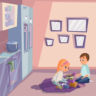 Cartoon kids playing wooden cubes in kitchen room