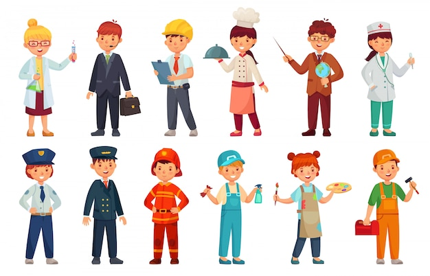 Cartoon kids in professional uniform. doctor children outfit, businessman kid and baby engineer worker  set