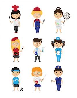 Cartoon kids professions