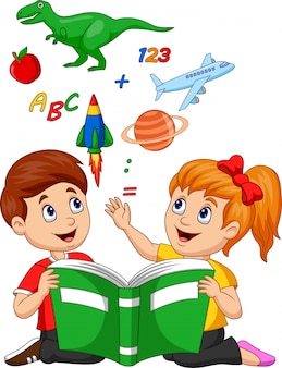 Cartoon kids reading book education concept