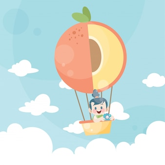 Cartoon kids riding a hot air balloon peach