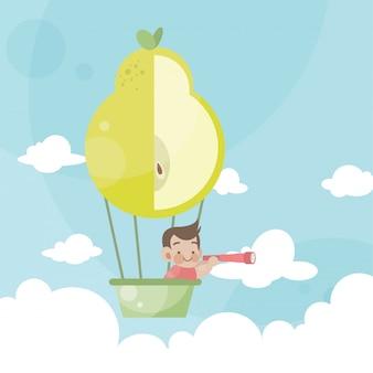 Cartoon kids riding a hot air balloon pear