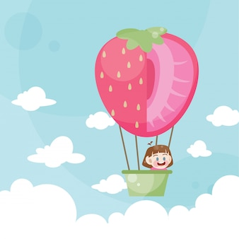 Cartoon kids riding a hot air balloon strawberry