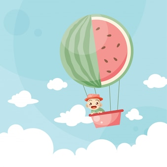 Cartoon kids riding a hot air balloon watermelon