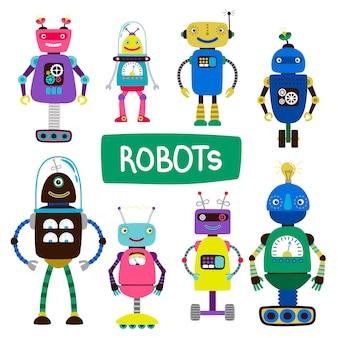 Мультяшные дети роботы из набора иллюстрации