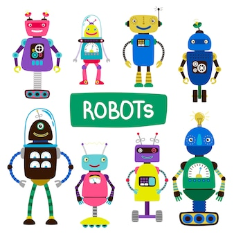 Cartoon kids robots of set  illustration