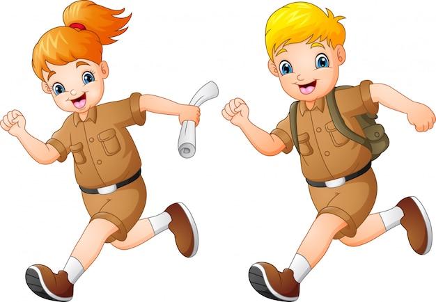 Cartoon kids running with safari costumes