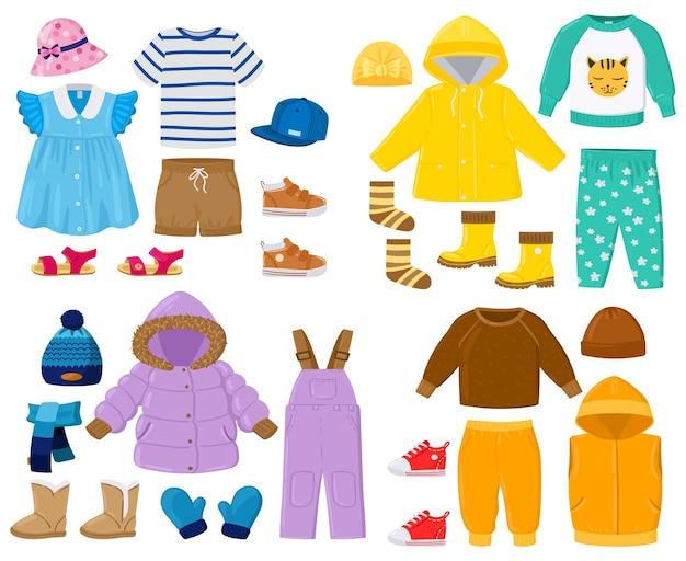 만화 아이 계절 겨울, 봄, 여름, 가을 옷. 패딩 재킷, 바지, 셔츠, 샌들 아동복 벡터 일러스트레이션 세트. 아기 계절 옷. 의류 시즌 겨울과 봄