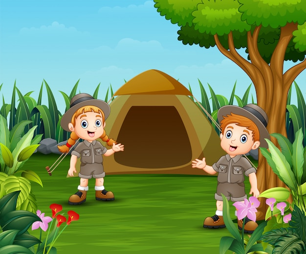 Cartoon kids and a tent for camping
