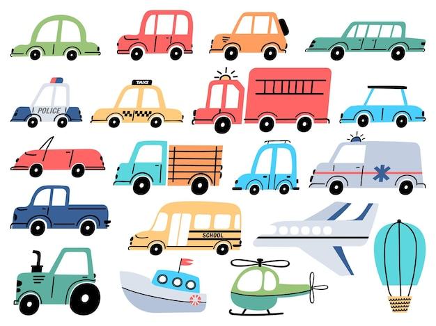 漫画の子供のおもちゃの車の警察、救急車、飛行機、ボート。車両、トラック、バス、トラクター。シンプルなベビースタイルのベクトルセットでフラットな輸送。白で隔離される幼稚な輸送要素
