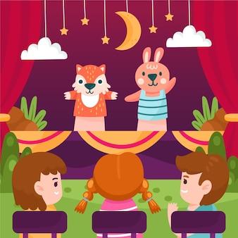 Bambini del fumetto che guardano spettacolo di marionette