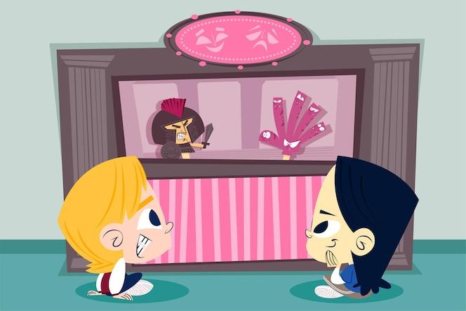 卡通儿童观看木偶戏
