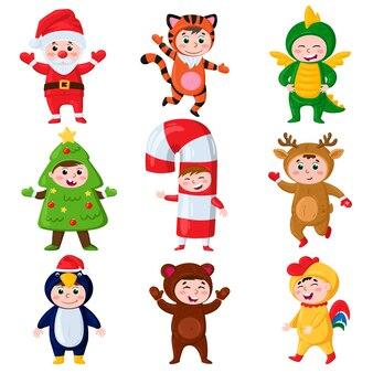 크리스마스 의상 카니발 파티 순록 펭귄 의상을 입고 만화 아이 벡터 세트