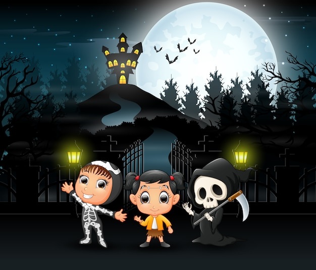 Cartoon of kids wearing halloween costume
