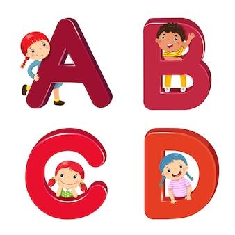 Abcd 문자가있는 만화 아이
