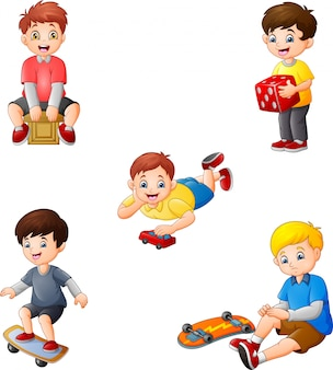 Cartoon kids with different hobbies collection set