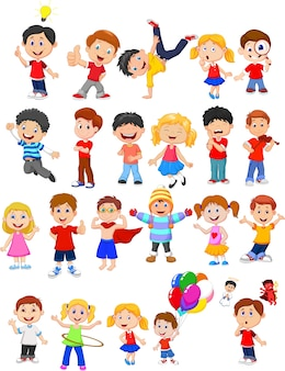 Cartoon kids with different pose and expression