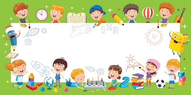 Cartoon kids with a frame