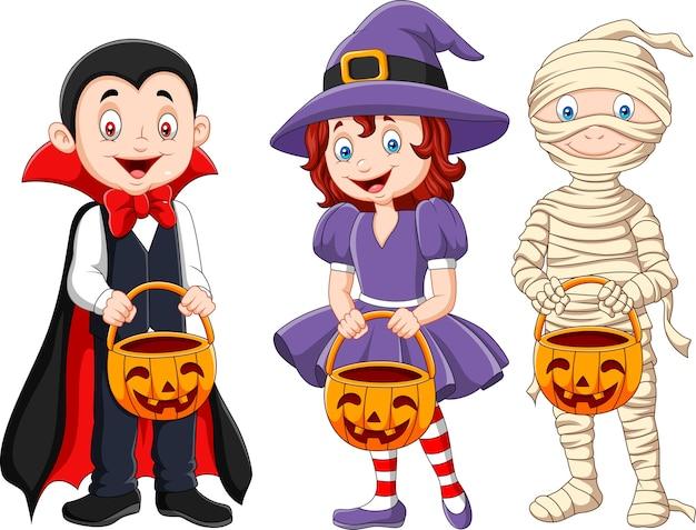 Cartoon kids with halloween costume holding pumpkin basket