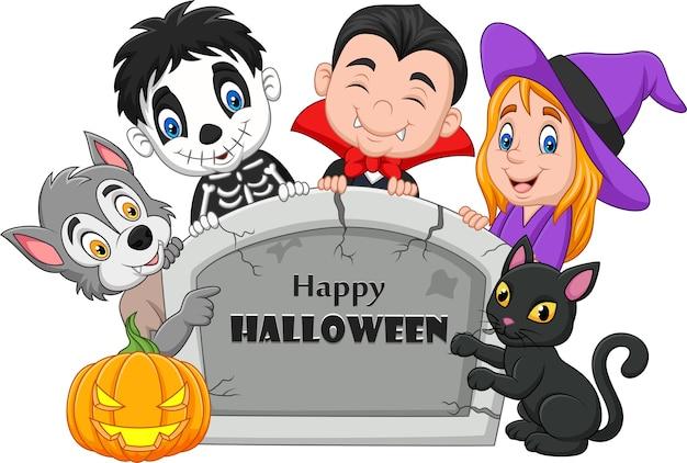 Cartoon kids with halloween costume holding tombstone