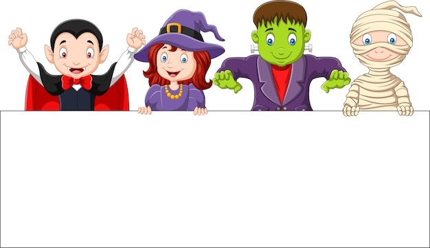 Cartoon kids with halloween costume with blank sign